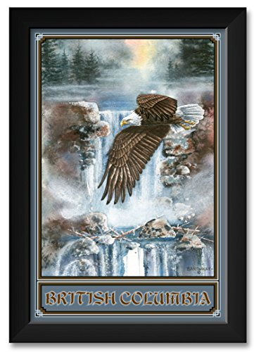 (Northwest Art Mall Cascade Flights Eagle Flying British Columbia Canada Framed Art Print by Dave Bartholet. Print Size: 12