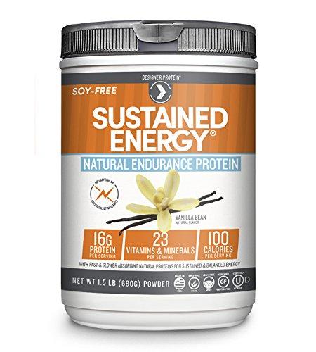 Designer Protein Sustained Energy Natural Endurance Protein, Vanilla Bean, 1.5 Pound
