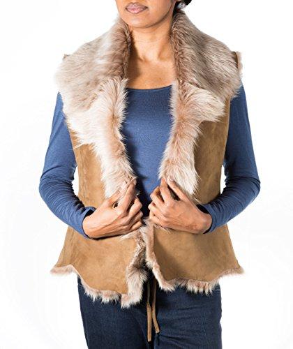 Mujer piel de cuerpo Chaleco mangas Chaqueta Con corto Bronceador Calentador de oveja A Cascada de pluma Crema de Chaleco de Z sin cuero To XPxSqp0