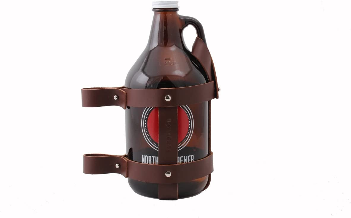 Fyxation Leather Bicycle Growler Carrier, Brown