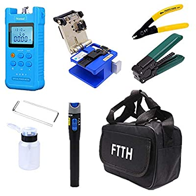 18 Pcs FTTH Fiber Optic Tool Kit With FC-6S Cleaver Optical Power Meter Visual Fault Locator Finder Cable Cutter Stripper