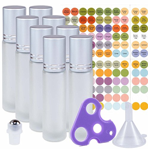 8 Beautiful Frosted Glass Stainless Steel Roller Bottles - 8 Pack 10ml - Free Roller Bottle Opener Key Tool & 192 Essential Oil Bottle Cap Sticker Labels - Extra Roller Ball and Funnel