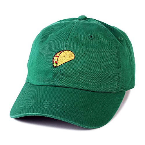 All Star Cotton Cap (Taco Embroidered Hat Adjustable Mexcian Food Baseball Cap Vintage Cap (Green))