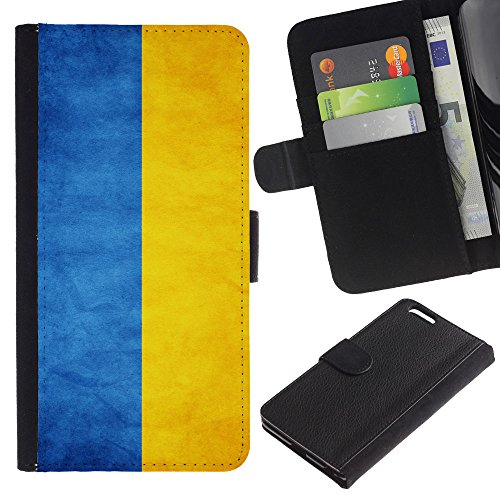 OMEGA Case / Apple Iphone 6 PLUS 5.5 / Ukraine Grunge Flag / Cuir PU Portefeuille Coverture Shell Armure Coque Coq Cas Etui Housse Case Cover Wallet Credit Card