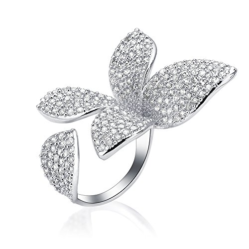 dnswez Unique Large Flower Cubic Zirconia CZ Silver Open Cluster Cocktails Ring Adjustable Size 7\8 GIFT Package Flower Cocktail Adjustable Ring
