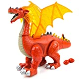 Purplecraft Red Dinosaur Dragon Toy for Kids - Walking Dinosaur Toy for Toddlers with Sound and Lights - Dino Toy for 3-Year-Old with Movable Fun & with Lights & Sounds and Lay Eggs
