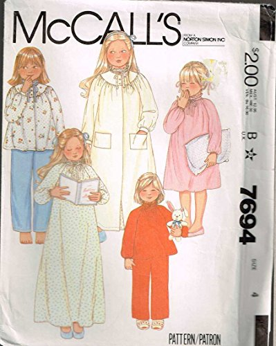 McCall's 7694 Girls Gathered Neckline Nightgown Robe Vintage Sewing Pattern Check Offers for Size ()