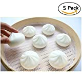 Inchant 5 Pack Food Grade Silicone Steamer Mats - Non Stick Steamer Mesh Round Shape Dumplings Mat Pad Steamed Buns Baking Pastry Dim Sum Mesh (diameter 11'')