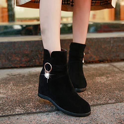 Para Zapatillas Botines Color Zipper Zapatos Punta Mujer Bazhahei Pure Cuña Gamuza Botas Ante Con Boots Bola Pelo Redonda De 2 Black Cabeza rgYw86qnr