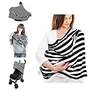 Nursing Cover Scarf - WoNiu Baby Car Seat Cover, Multi-Use Infinity Stretchy Breastfeeding Cover for Girls and Boys Shopping Cart, Stroller, Car Seat Canopy, Super Soft Organic Cotton