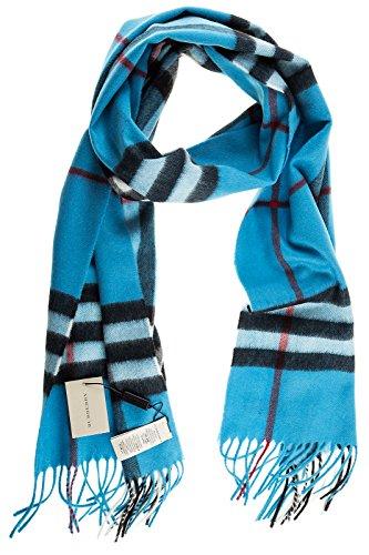 Burberry men's cashmere scarf giant check icon blu