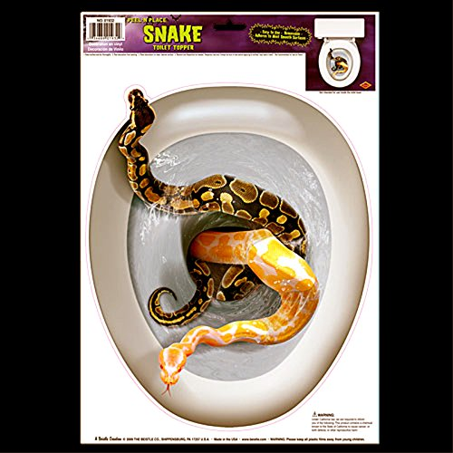 Gothic Halloween Prop-SNAKE TOILET TOPPER-Tattoo Cling Decal Bathroom (Best Halloween Costume Ever Toilet)
