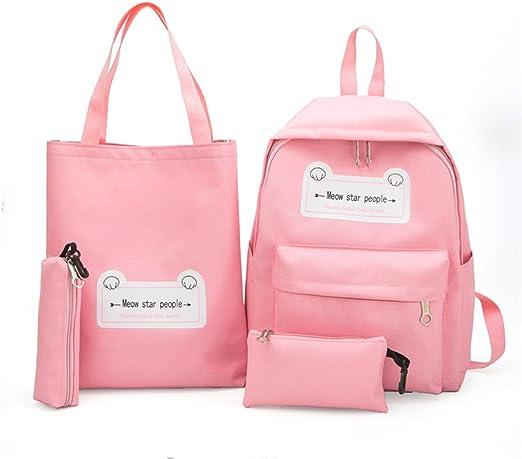 chenpaif 4Piezas / Set Mochilas Casuales Mochilas de Lona con Bolso Bolso Estuche de lápices para niñas Adolescente Rosa: Amazon.es: Hogar
