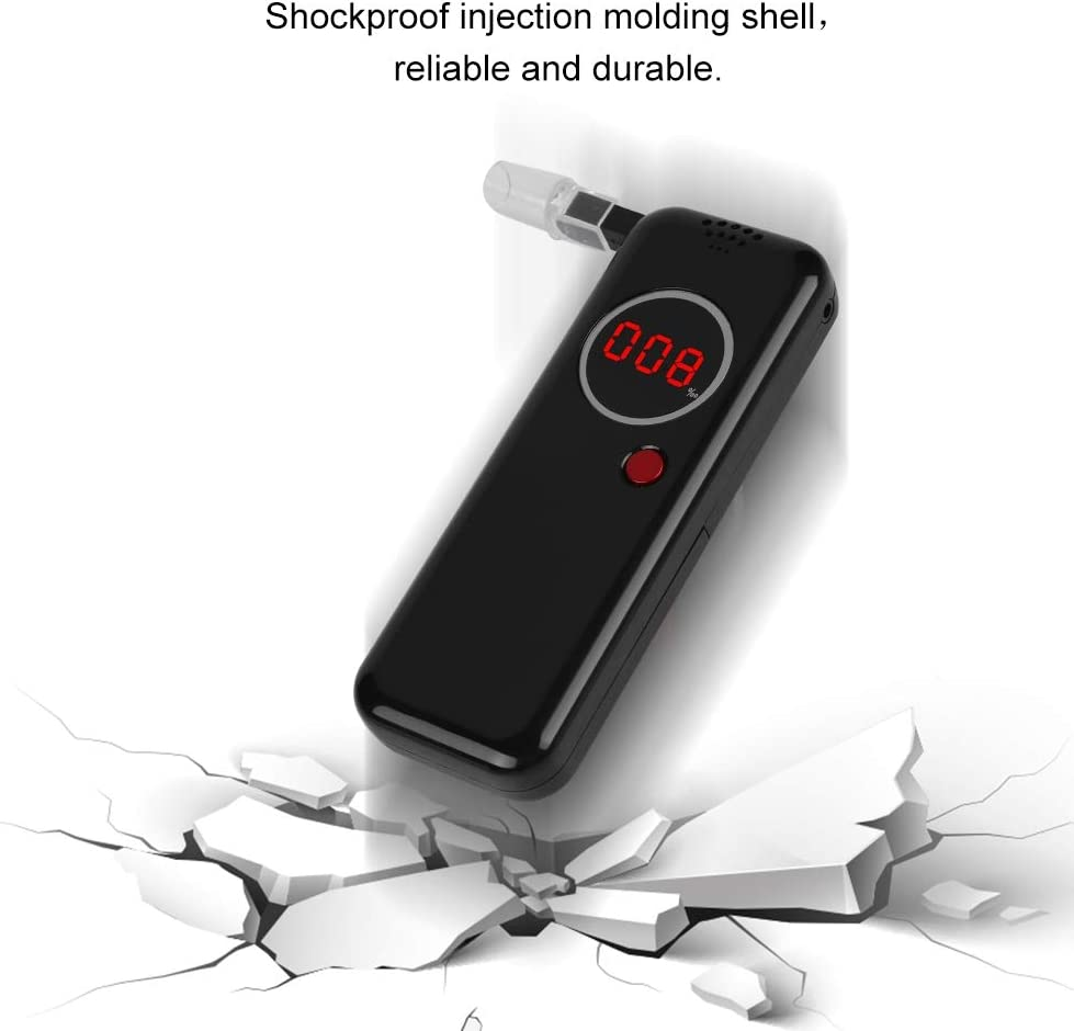 professioneller Alkohol Atemmelder mit digitaler roter LCD-Anzeige schwarz Alkoholtester tragbarer digitaler Atemanalysator zus/ätzliche 6-teilige Mundst/ücke