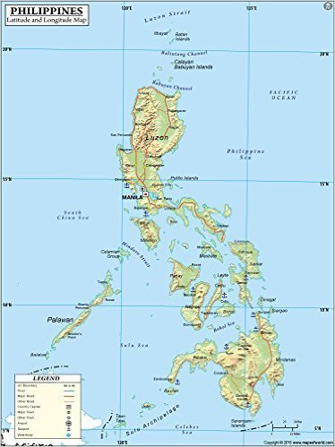 Map Of The Philippines With Latitude And Longitude Amazon.: Philippines Latitude and Longitude Map (36