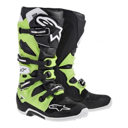 Alpinestars Tech 7 Men's Off-Road Motorcycle Boots - Black/Green / Size 11 by Alpinestars