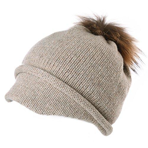 SIGGI 100% Wool Knitted Visor Beanie Brim Pom Cold Weather Winter Hat Women Newsboy Cap Beige