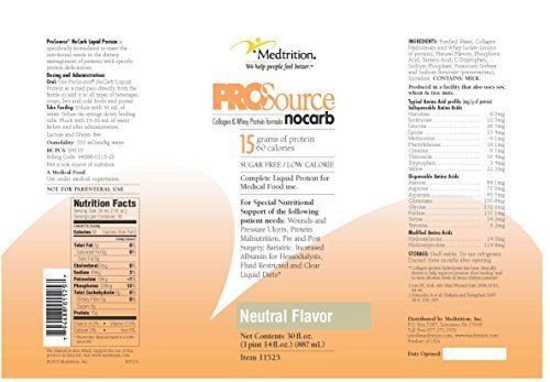 ProSource NoCarb Liquid Protein 30 Ounce, Neutral Unflavored – Case of 4 – Model 11525