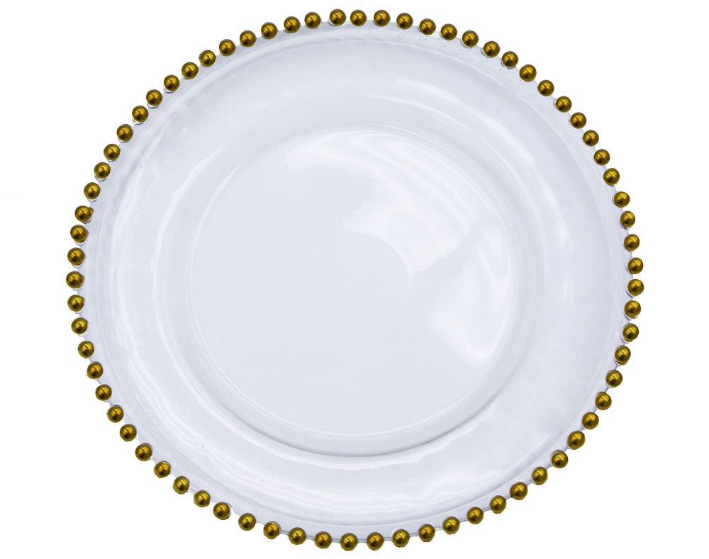 8 Pk, Beaded Glass Charger Plate Approx. overall 12'' diameter with 8'' diameter in the center - Gold trim