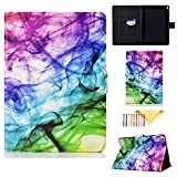 iPad Air 3 Case Kids 2019 - iPad Pro 10.5 Inch Case 2017 - Cookk Colorful Pattern PU Leather Stand Wallet Smart Cover for Apple iPad 10.5 Inch Tablet - Color Smoke