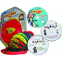 Catholic Kid's Audio Bible (Imprimatur)-with 2 Free Holy Baby DVDs- a 2nd Free Mp3 Kids Audio Bible-Bible Stories for Kid's-Bible stories for ... CEV Version-Audio Book-Red Saucer Case