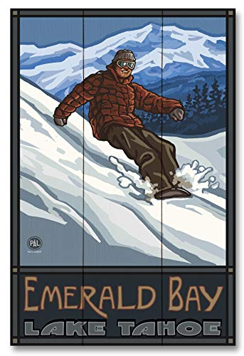 Lake Tahoe Emerald Bay California Snowboarder Edge Wood Art Print by Paul A. Lanquist (12