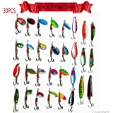 Fishing Spoon Minnow Lure With Beads-JSHANMEI 30PCS Assorted Color Sinking Lure Saltwater Lure Bait Trout Pikes Walleye Fishing Mental Lure