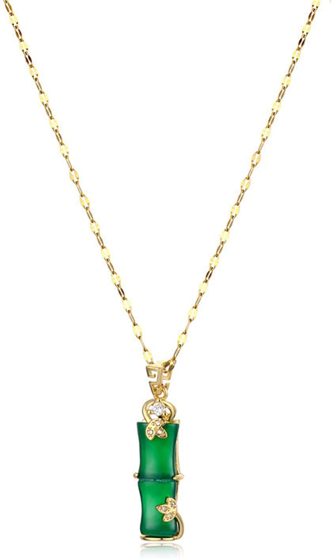 QSO Collar De Mujer Acero De Titanio Imitación De Jade Hetiano Colgante Ojo De Gato Colgante Joyas Collar De Bambú De Jade Blanco con Incrustaciones De Oro Alto