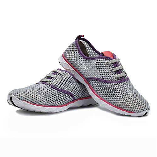 Beach Shoes Water Slip Summer Lightweight Red Drying Men Aqua Women Breathable Lace Quick Trainer SAGUARO On Mesh Pool for 7cyIvfv1F