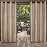 2 Piece 108 Inch Natural Indoor Outdoor Two Tone Textured Gazebo Curtain, Light Brown Window Treatment Panel Pair, Patio Porch Cabana Dock Grommet Top Pergola Drapes, Casual Contemporary Polyester