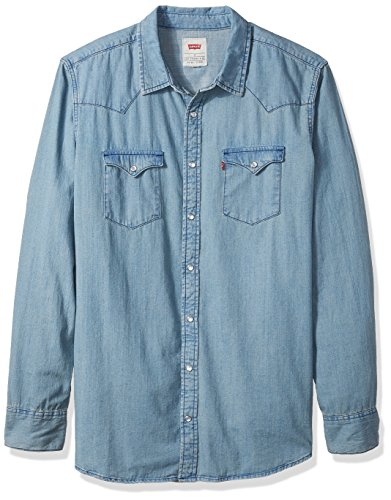 Levi's Men's Big and Tall Standard Denim Western Shirt, Light Stonewash, (Big Tall Denim Shirts)