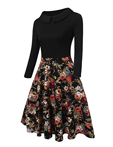 black Long Swing Beyove Sleeve Line A Casual Neck Loose C Cowl Tunic Women's Dress gnrgqOY