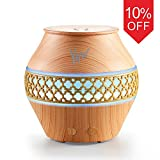 YHW Essential Oil Diffuser Cool Mist Humidifier Ultrasonic Machine, 7-12 Hours Spa Aromatherapy with RGB Nightlight, 100v~240v for Travel, Ultra Quiet Mister, Bedroom, Nursery, Office (Light Wood)