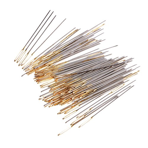 Homyl 100 Pieces Mixed Sliver Gold Large Eye Embroidery Cross Stitch Hand Needles Size 26 in Clear Box