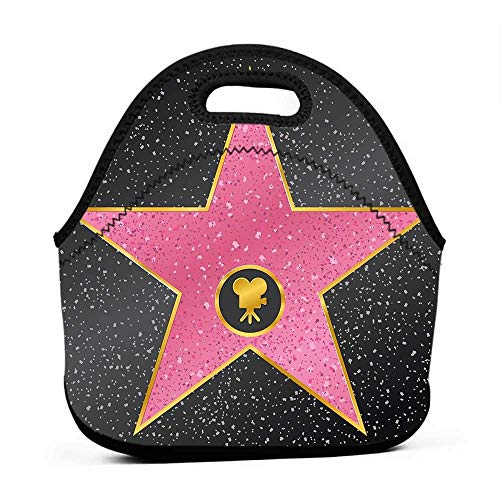 Travel Case Lunchbox with Zip Popstar Party,Hollywood Walk of Fame Symbol Celebrity Entertainment Culture,Charcoal Grey Pale Pink,cars backpack for boys and lunch -