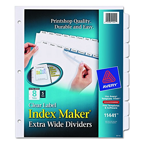 Maker Laser Punched 3 Tab (Avery Extra-Wide Dividers, Ink Jet Printer, White, 8-Tab, 9 x 11 Inches, 5 Sets (11441))