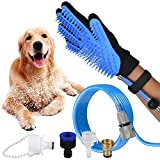 3 in 1 Dog Shower Sprayer Pet Bathings Tool Grooming Glove with Free Dental Finger Brush, Clean, Massage & Remove Hair, Bathtub Attachment for Indoor & Outdoor Cat Puppy Use
