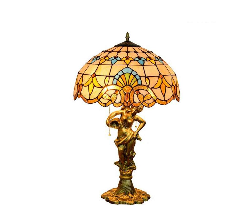 KUANDAR Light Colored Glass Table Lamp Beauty Style Base Suitable for Living Room Dining Room Study Room Bedroom Bathroom Corridor Balcony Stairs Path Hotel Restaurant Cafe Bar Library, Color