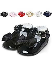 Infant Baby Girls Princess Patent-Leather Bowknot Soft Sole Mary Jane Shoes