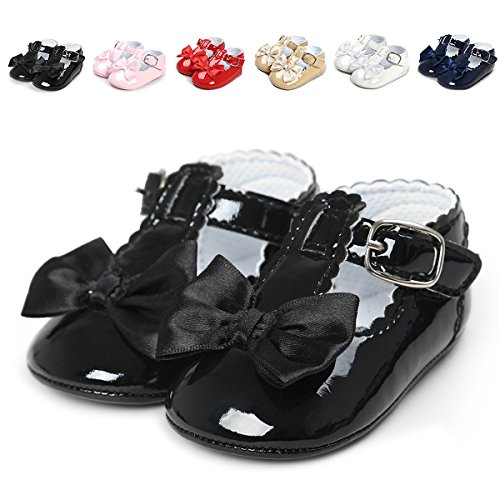 QGAKAGO Infant Baby Girls' Princess PU Leather Mary Jane Shoes Soft Sole Bowknot Shoes (M: 4.73 inch(6~12 Months), Black) - Patent Baby Shoes