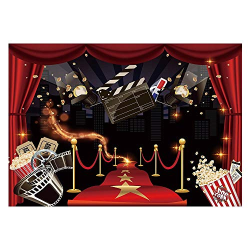 Hollywood Themed Backdrop (Funnytree 7x5ft Hollywood Party Backdrop Popcorn Movie Night Birthday Background Premiere Marquee Red Carpet Celebrity Banner Photobooth Decorations Photo Studio)