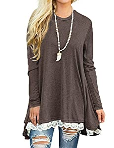 Womens Casual Long Sleeve Tunic Tops Cute Lace Stitching Long Shirt Pullover Blouse M,Coffee