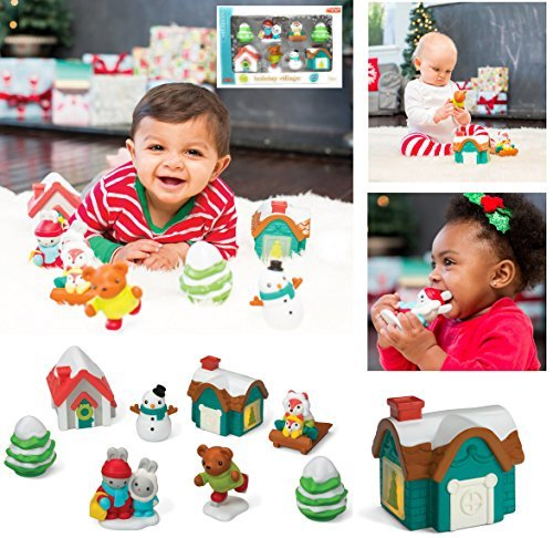 Bears Sledding (EXCLUSIVE Infantino Gaga - HOLIDAY VILLAGE - Includes 8 Pieces: Light-up Cottage, Holiday House, Sledding Foxes, Snow Man, Skating Bear, Winter Bunnies, and Two Trees)