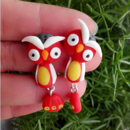 Handmade Clay Owl Stud Earring For Women Animal Earrings Jewelry Summer Girl Earring Fashion
