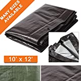 Waterproof Tarp Heavy Duty Hanjet 10 x 12 Feet 9 Mil Thick Material - Great for Tarpaulin Canopy Tent, Boat, RV or Pool, Motorcycle Cover Brown & Sliver