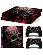 Mcbazel Whole Body Vinyl Sticker Pattern Decals Skin Cover for Original PS4 Console & Controller (NOT for PS4 Slim / PS4 Pro) - Black Red Skull