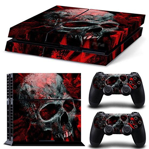 Gam3Gear Vinyl Sticker Pattern Decals Skin for PS4 Console & Controller (NOT for PS4 Slim / PS4 Pro) – Black Red Skull