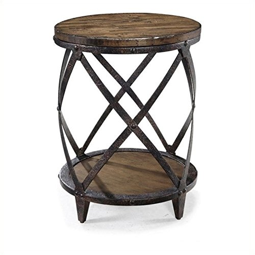 Beaumont Lane Round Accent Table in Distressed Pine For Sale