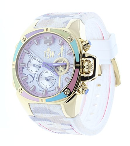 Technosport Dreamline 38mm Beige Camo Jean Rubber Strap Swiss Multifunction Women's Watch TS-100-J38