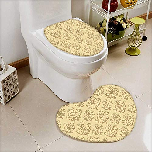 U-Shaped Toilet Mat-Soft Regular Damask Patterns Islamic Antique Lace Floral Patterns Oriental Style Decorative Art Beige 2 Piece Toilet Toilet mat by L-QN